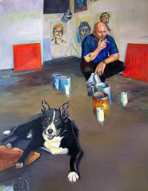 Adam Cullen and Growler, 2005, oil on canvas, 180 x 150 cm