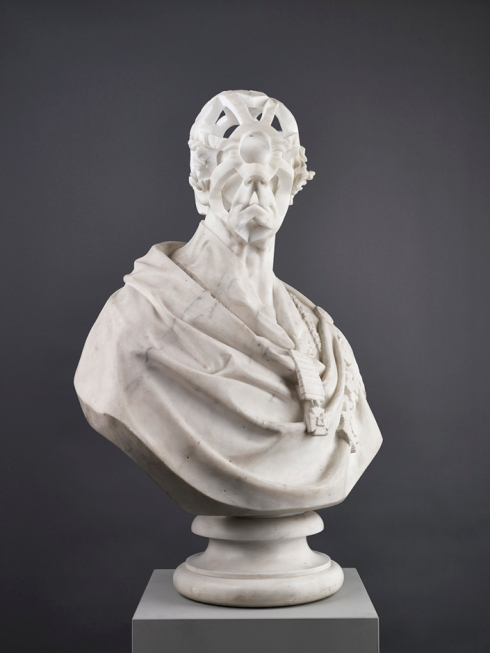 Jonathan Owen Untitled, 2014 carved 19th century marble bust with further carving 80 x 60 x 13.7 cm Ingleby Gallery - Edinburgh