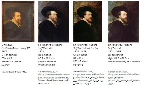 A comparison of the Untitled copy, and three versions by the hand of the old master