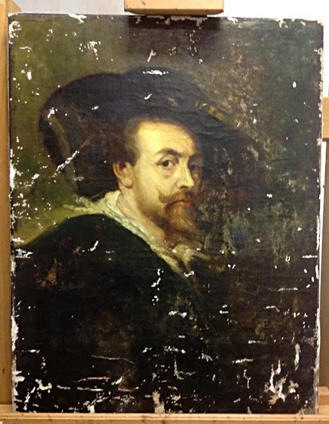 Untitled - Rubens copy during treatment, after cleaning and re stretching, losses were infilled in preparation for inpainting